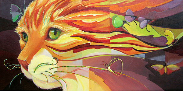 """Dali Cat"" Acrylic painting of a yellow tabby's head with butterflies by Carolyn Ritter"