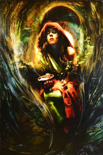 Figurative Oil Painting of the Oracle at Delphi by artist Brad Walker