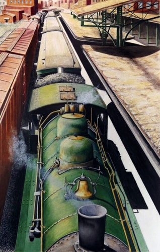 Vintage train leaving the station, colored pencil drawing by David Neace