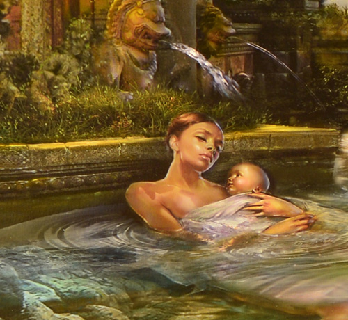 Detail of oil painting of Mother and Child below a fountain by Brad Walker