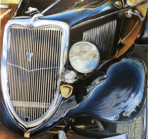 Colored Pencil drawing antique car hood and grille by David Neace