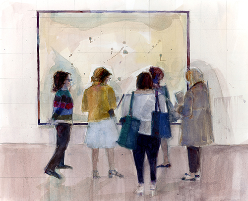 Women at a contemporary art gallery, watercolor painting by Dorrie Rifkin