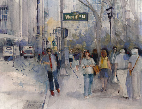 """What's the Rush - W 41st St"" Watercolor, 18"" x 13"""