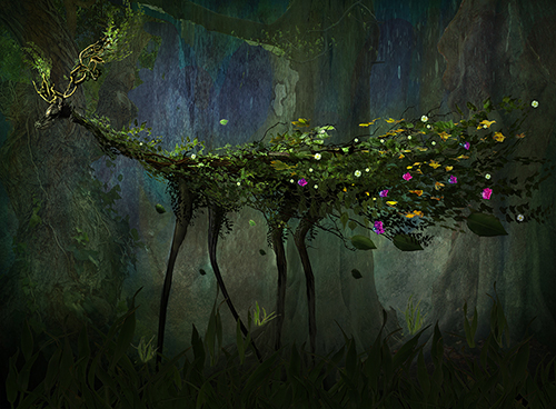 """Deep Forest Creature"" Digital Photograph of a deer-like creature with branches. greenery and flowers for its antlers and fur by Jan Gierat"