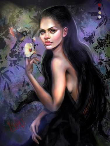 Digital painting of a young woman with flower and bird by Kait Matthews