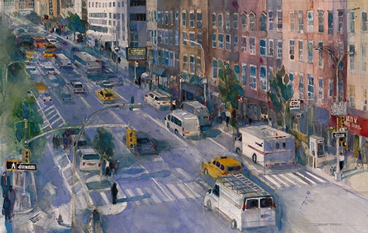 New York City Street Scene, watercolor painting by Dorrie Rifkin