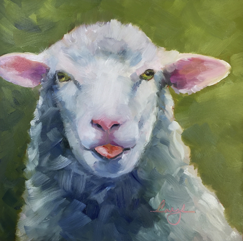 Impressionistic portrait of a white sheep, oil painting by Caryl Pomales