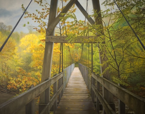 Oil painting of a wooden foot bridge in the woods inn the fall by Ken Bachman