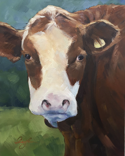 """Grazing the Shores, Lake Wakatipu"" Impressionistic oil portrait of a brown and white cow staring out at the viewer by Caryl Pomales"