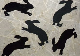 Chalk drawings of rabbits on collaged periodical pages by Louise Laplante