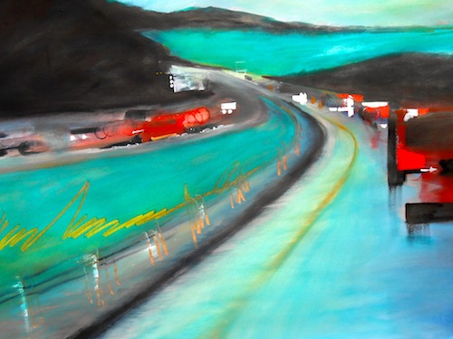 """The Reds Have It"" Abstract behind the wheel view of a blue highway with blurred red vehicles, watercolor by Elaine Nunnally"