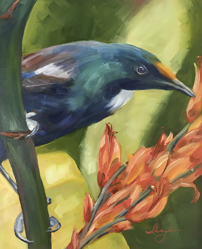 """Tui Messenger"" Image of a tropical blue bird on a branch, oil painting by Caryl Pomales"