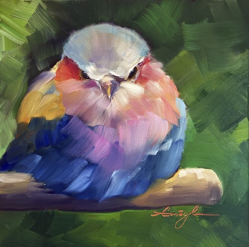 """""""Lilac Beauty"""" Impressionistic image of a small colorful bird, oil painting by Caryl Pomales"""