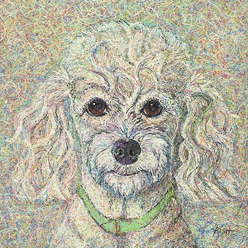 """Poodle"" Drip paint portrait of a white poodle by Gretchen Serrano"