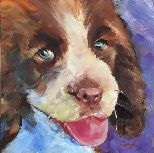 """Puppy Love"" Impressionistic portait of a brown and white dog, oil painting by Caryl Pomales"