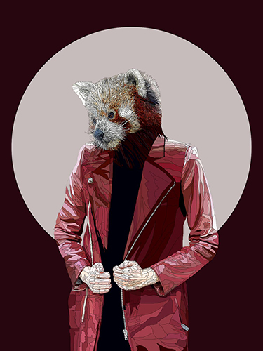 aDigital drawing of A ferret in a red leather jacket by Paul Kingsley Squire