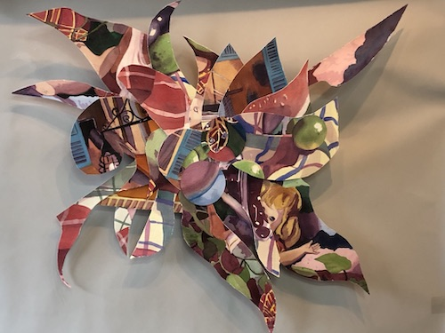 Abstract 3-D painted paper mounted on canvas by Cathy Ehrler