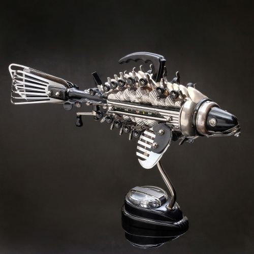 Found object sculpture of a fish by Jason Lyons