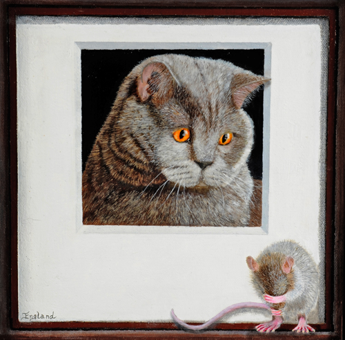 Painting of a cat looking at a mouse by Jacqueline England