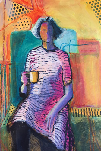 Abstract mixed media painting of seated woman with a cup of coffee by Laura Hunt