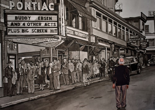 Watercolor painting in black and white with an elderly modern day man standing in front of a forties movie marquee by Valerie Patterson