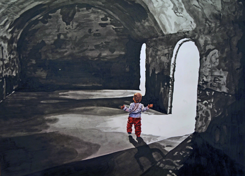 Watercolor painting of a small child in a dark room with two doors by Valerie Patterson