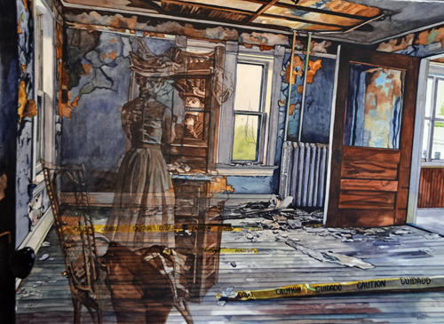 Watercolor painting of a dilapidated bedroom with ghosts by Valerie Patterson