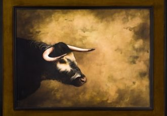 Framed oil painting of the head only of a steer by Barbara Hangan