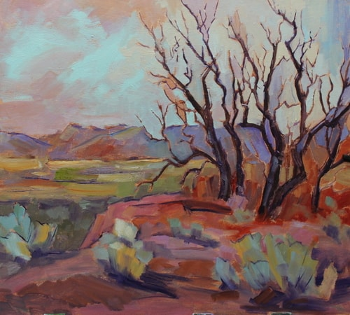Impressionistic desert landscape painting by Jody Ahrens
