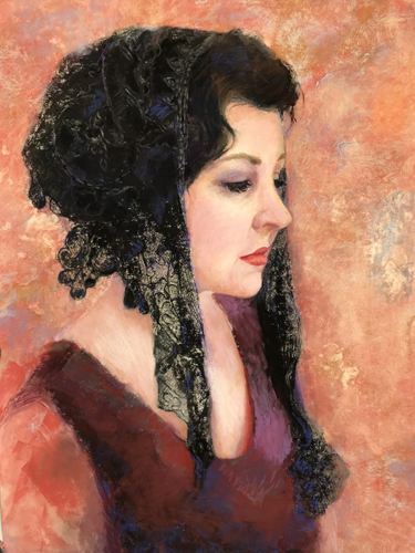 Pastel portrait of a dark-haired woman by Carolyn Hancock