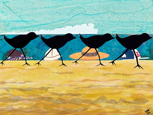 Mixed media collage of plovers running along the beach by Doug Dale