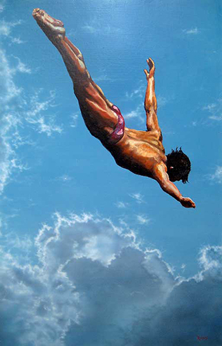 Painting of a young man diving into the ocean by Lance Rodgers