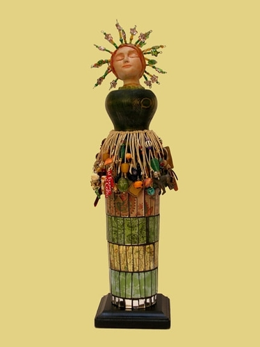 Mixed media figurative sculpture named Belle by Judy Jordan