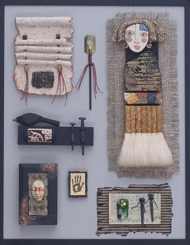 3D mixed media shadowbox featuring Marsha's Object Gallery by Judy Jordan