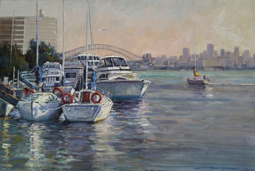Oil painting of the Sydney, Australia, harbor by Marc Poisson