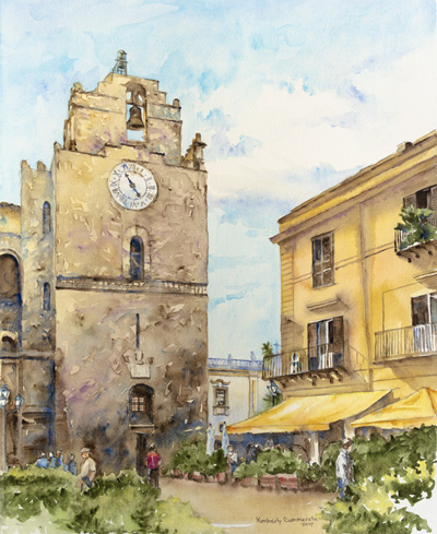 """Il Duomo di Monreale, Sicilia"" Watercolor by Kimberly Cammerata"