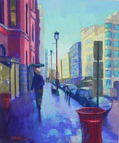 Pastel cityscape of Chinatown in Washington, DC by Jean Hirons