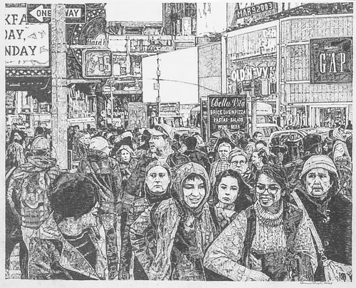 Graphite figurative drawing of a crowded New York sidewalk by Carmen Verdi