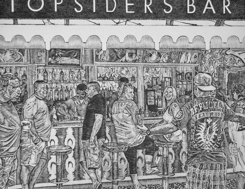 Figurative graphite drawing of people at a bar by Carmen Verdi
