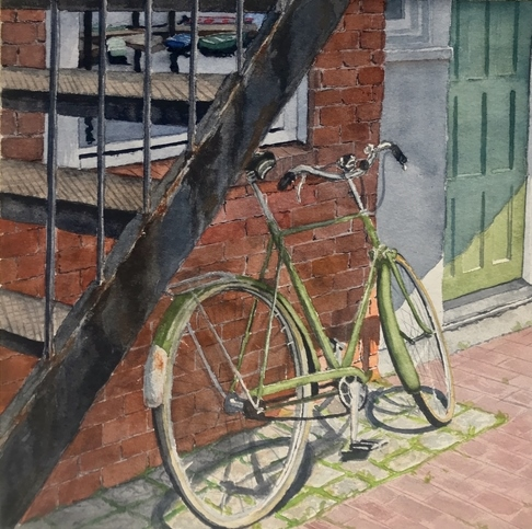 Watercolor painting of a bicycle in the city