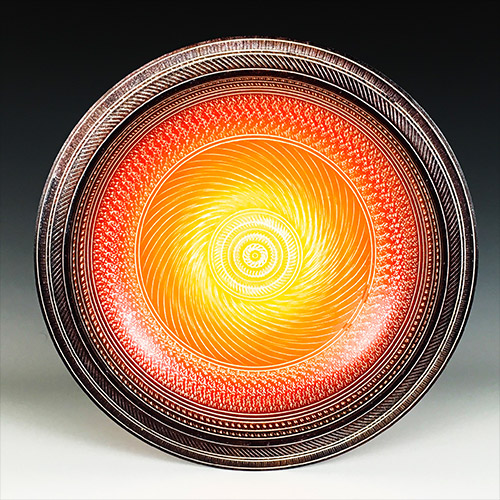 Painted maple bowl by Jeff Hornung