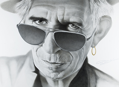 Graphite portrait of Keith Richards by Lisa Botto Lee
