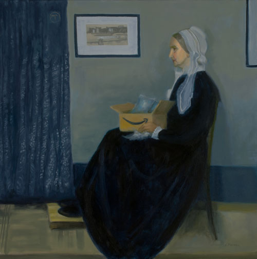 Oil copy of Whistler's painting Whistler's Mother where she is holding an Amazon box with bubble wrap by Victoria Mimiaga