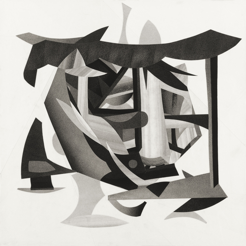 Abstract charcoal collage by Daniel Voelker