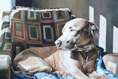 Watercolor portrait of a dog on a bed by Karen Heidler
