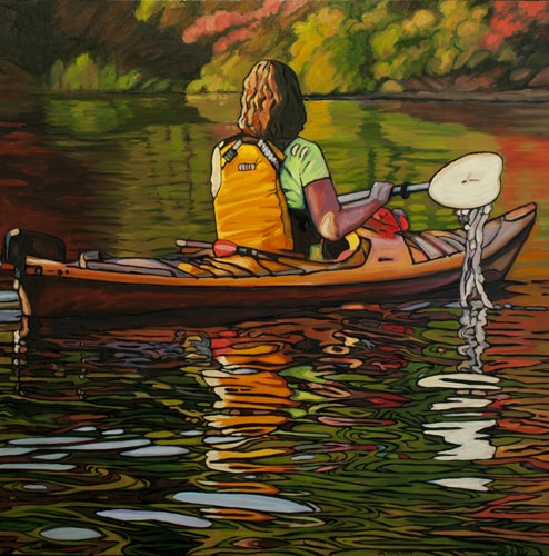 Oil painting of a kayaker by Janet MacKay