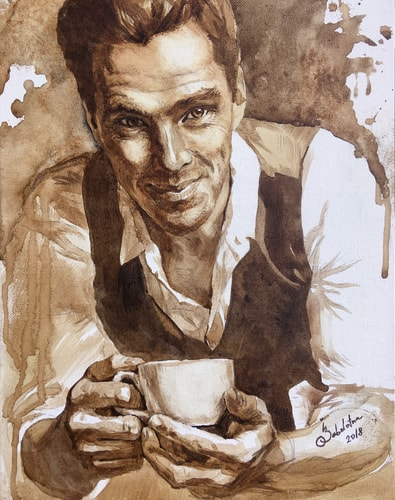 Coffee portrait of Benedict Cumberbatch drinking coffee by Ilona Zabolotna