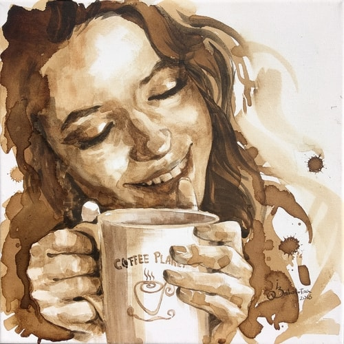 Coffee painting of a happy young woman drinking coffee by Ilona Zabolotna