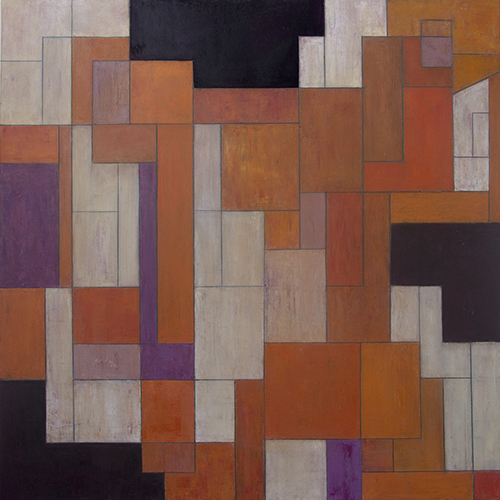 Geometric Abstract Cold wax, oil and marble dust composition by Stephen Cimini