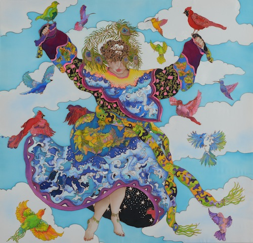 Silk painting of woman surrounded by birds dancing in the sky by Linnea Pergola